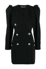 MINI DRESS WITH CR BUTTONS AND PUFF SLEEVES