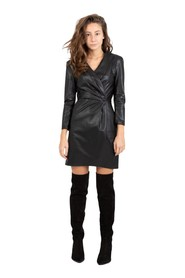 Black mini dress in faux leather