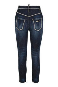 Beaded-trim cropped skinny jeans