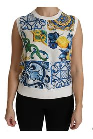 Majolica Sleeveless Blouse Silk Top
