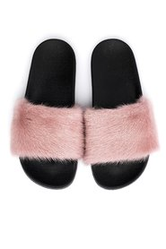MINK FUR SLIPPERS BLUSH ROSE