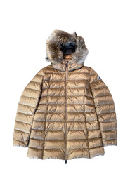 Perle Down coat with camel hair
