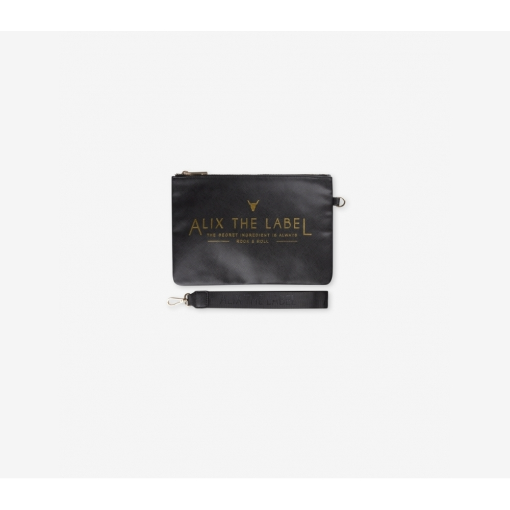 Fake leather clutch black - Alix the label