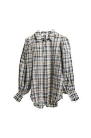 Puff Sleeve Check Oversized Shirt Skjorte