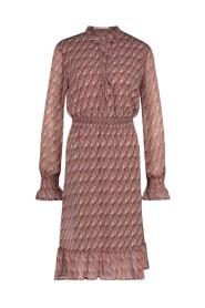Defne-brown midi dress long sleeve