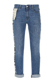 Jeans with hidden zip and button closure