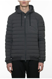 Quilted bomber jacket in bi-stretch technical fabric with water-proof zip