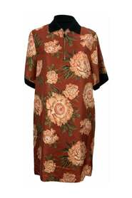 Floral Silk and Cotton T-Shirt Dress Size 40 IT