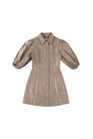 Leather Shirt Mini Dress