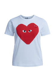 T-shirt Play bianca con cuore rosso