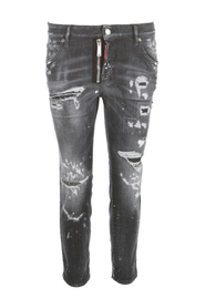 Ripped-detail cropped jeans