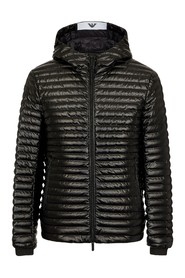 Down jacket in technical fabric with hood