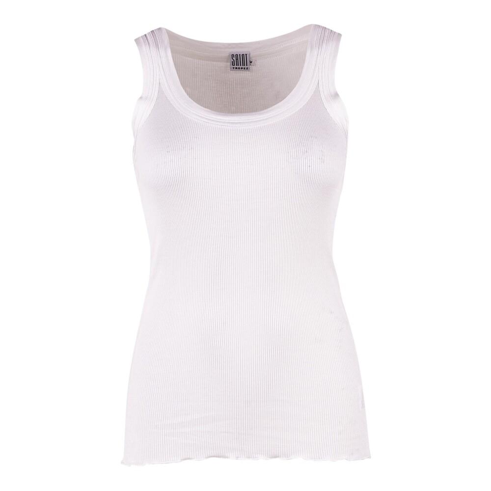 Silke top med rib - hvid XS Saint Tropez Toppe til Damer i Hvid