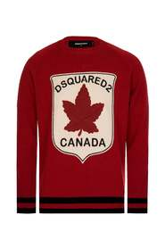 Maple Leaf Patch Knitted Jumper