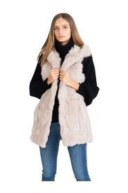 Long vest with hood and pin