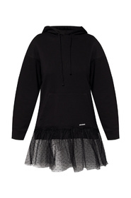 Hoodie with tulle panel