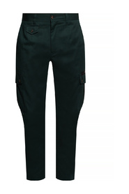 Stretch cotton cargo pants with patch embellishment