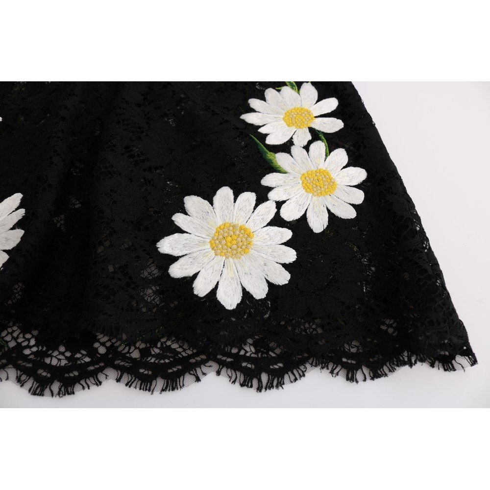 Black Floral Lace Chamomile Sicily Dress  Dolce & Gabbana  Kortärmade klänningar