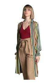 Maxi camicia a righe multicolor -40