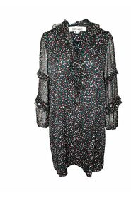 Multicolor Print Loose Fitting Dress with Tie