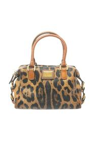 Leopard Print Coated Canvas and Leather Satchel