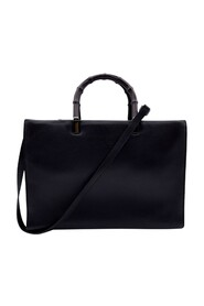 Begagnade Smooth Leather Bamboo Tote Handbag Satchel with Rem