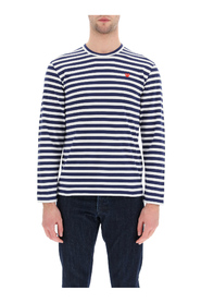 striped t-shirt with heart logo patch