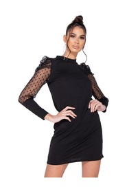 Polka Dot Sheer Puffed Sleeve Bodycon Mini Dress