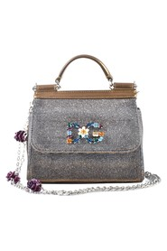 Bronze sparkly fabric Mini Sicily with Crystal Logo & Flowers on Chain