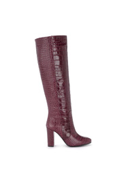 Crocodile bordeaux leather boots