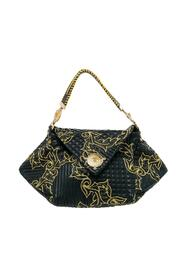 Barocco Leather Floral Stitch Top Handle Bag