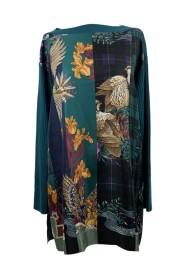 Brugt patchwork silke og uld tunika str