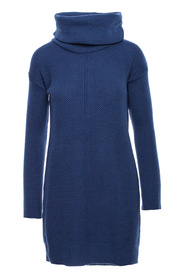 Sweater knit dress with high neck