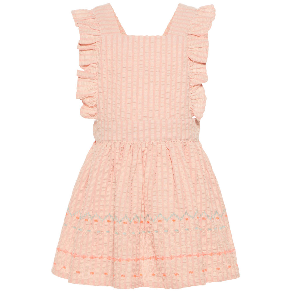 Dungaree Dress neon embroidered