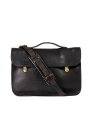 Groucho clasp grained leather satchel bag