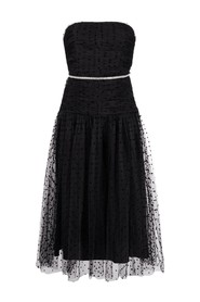 STRAPLESS DOT MESH MIDI DRESS