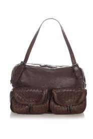 Brukt Intrecciato Leather Shoulder Bag