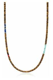 Brown Tiger Eye Heishi Necklace with Blue Lapis and Turquoise
