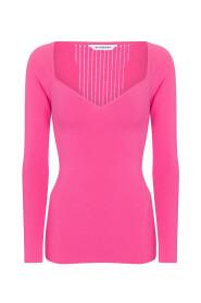 Stretch-knit sweater with heart neckline