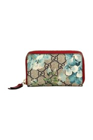 Pre-owned GG Supreme Coated Canvas Blooms Card Case