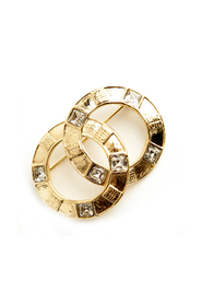 Gold tone round brooch