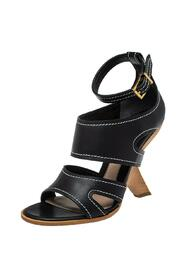 Leather Topstitched Ankle Strap Sandals