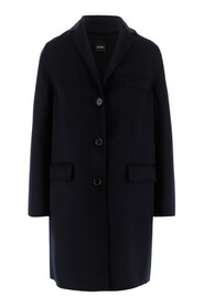 Coat Front button closure Long sleeves Side pockets with flap Regular fit