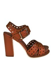 Drilled leather heeled sandals