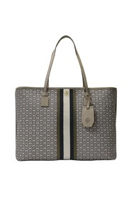 Gemini Link Canvas Top Zip Tote In Leather