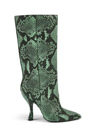 Snakeskin-Embossed Leather Knee-High Boots