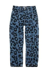Straight Up Slim Leopard Embroidery Jeans
