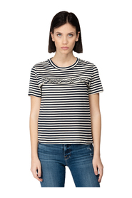 ROUND NECK T-SHIRT IN STRIPED COTTON WITH ROUCHE ON THE FRONT