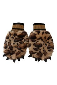 Leopard Paw Fur Knitted Elastic Wrist Gloves