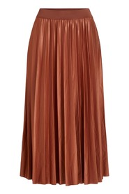 Camel leather effect pleated midi skirt